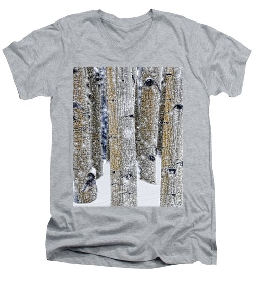 Gently Falling Forest Snow Men's V-Neck T-Shirt by Don Schwartz