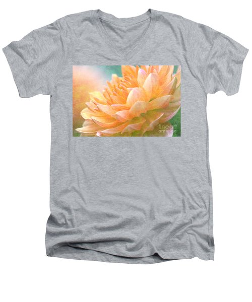 Gently Textured Dahlia  Men's V-Neck T-Shirt