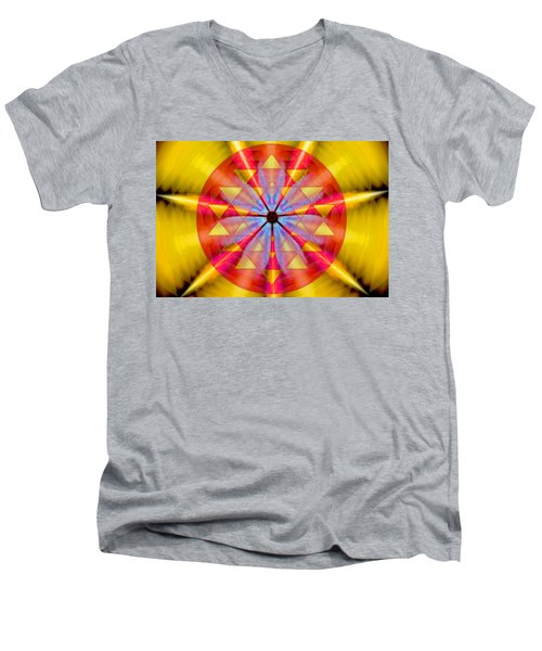 Men's V-Neck T-Shirt featuring the drawing Geo-cosmic Sri Yantra by Derek Gedney