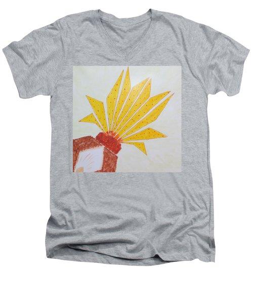 Geometric Blooming Lotus Men's V-Neck T-Shirt by Sonali Gangane