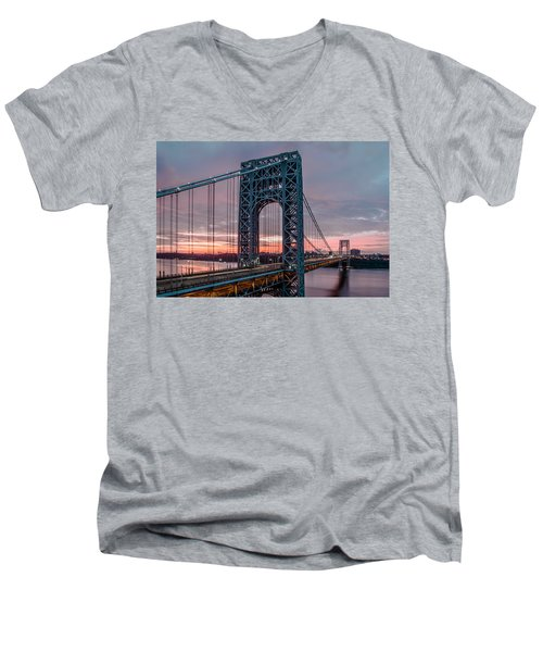 George Washington Bridge At Twilight Men's V-Neck T-Shirt