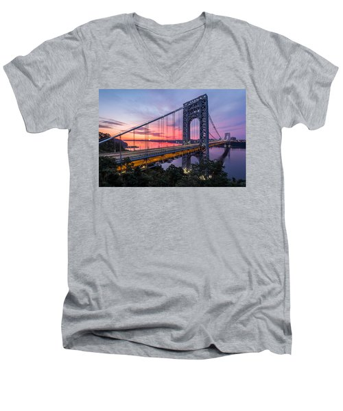 Men's V-Neck T-Shirt featuring the photograph George Washington Bridge by Mihai Andritoiu