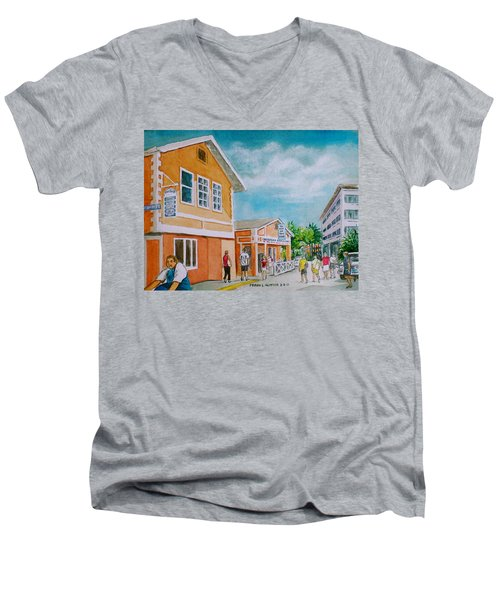 Georgetown Grand Cayman Men's V-Neck T-Shirt by Frank Hunter
