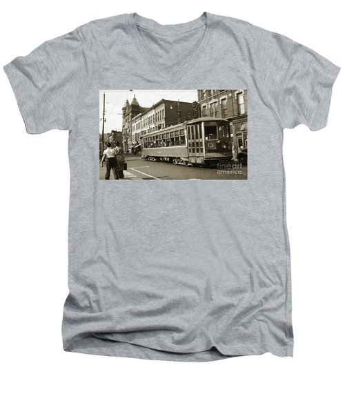Georgetown Trolley E Market St Wilkes Barre Pa By City Hall Mid 1900s Men's V-Neck T-Shirt