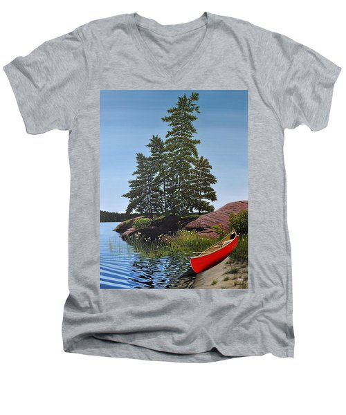 Georgian Bay Beached Canoe Men's V-Neck T-Shirt