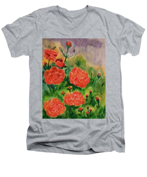 Men's V-Neck T-Shirt featuring the painting Geraniums by Christy Saunders Church