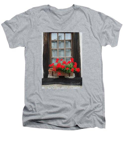 Geraniums In Timber Window Men's V-Neck T-Shirt by Barbie Corbett-Newmin