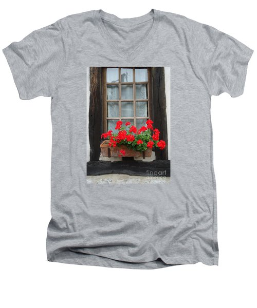 Geraniums In Timber Window Men's V-Neck T-Shirt