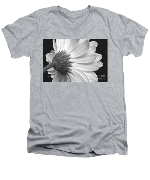 Gerbera Daisy Monochrome Men's V-Neck T-Shirt by Jeannie Rhode