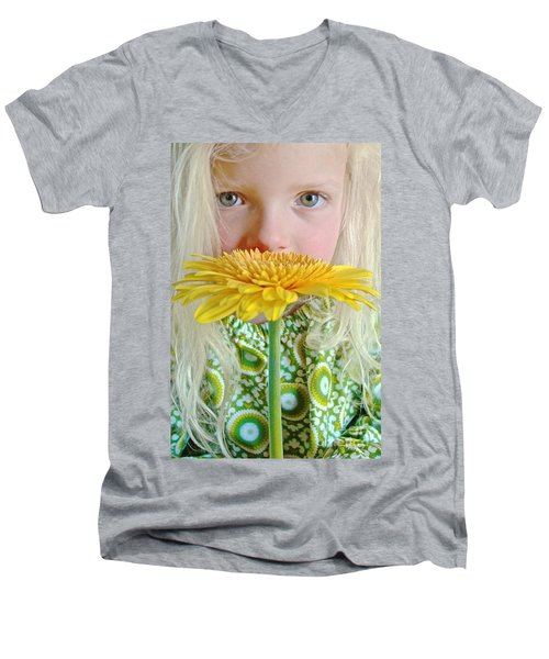 Gerbera Girl Men's V-Neck T-Shirt by Suzanne Oesterling