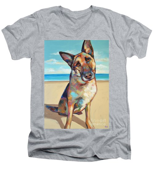 Men's V-Neck T-Shirt featuring the painting German Shepard  by Robert Phelps