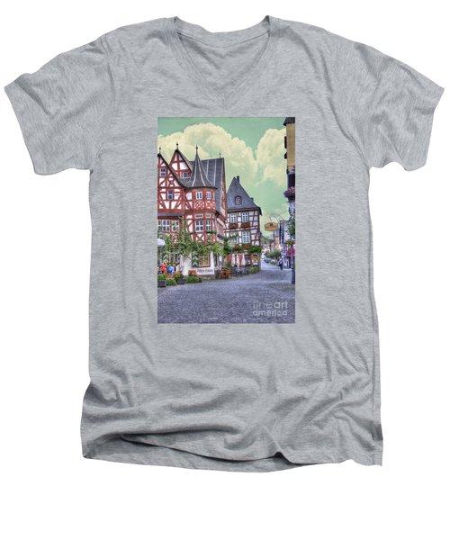 German Village Along Rhine River Men's V-Neck T-Shirt