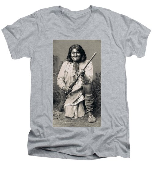 Geronimo - 1886 Men's V-Neck T-Shirt by Daniel Hagerman