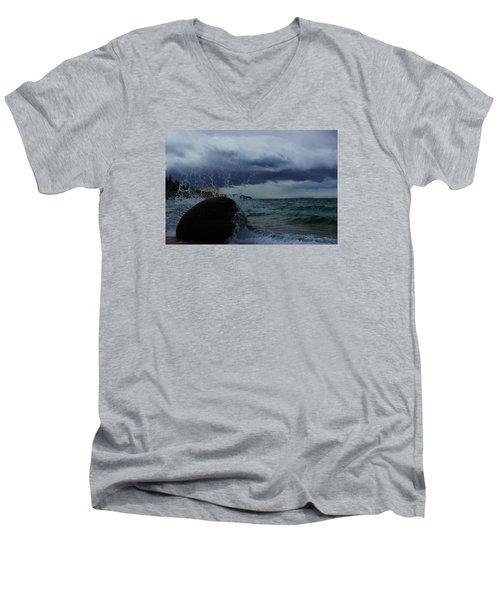 Get Splashed Men's V-Neck T-Shirt by Sean Sarsfield