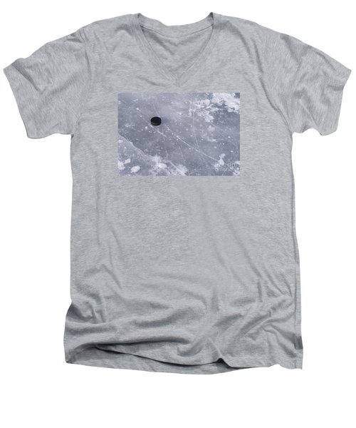Get The Puck Outta Here Men's V-Neck T-Shirt by Steven Ralser
