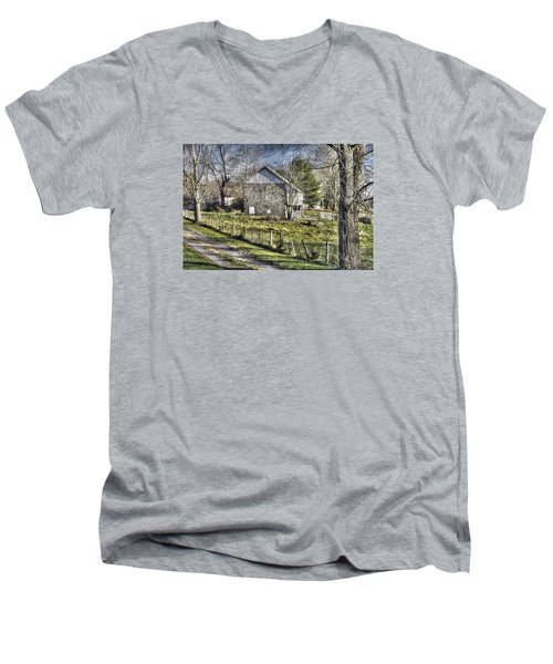 Men's V-Neck T-Shirt featuring the photograph Gettysburg At Rest - Sarah Patterson Farm Field Hospital Muted by Michael Mazaika