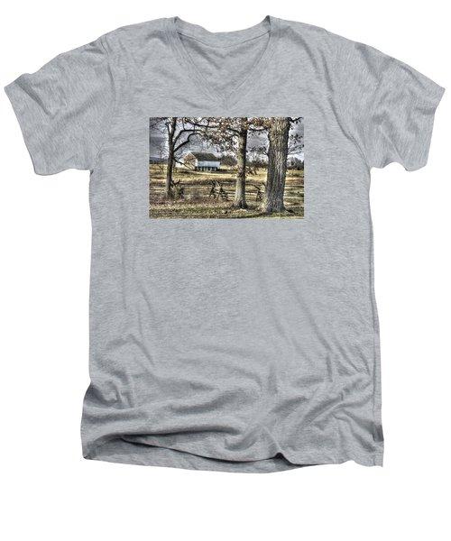 Men's V-Neck T-Shirt featuring the photograph Gettysburg At Rest - Winter Muted Edward Mc Pherson Farm by Michael Mazaika
