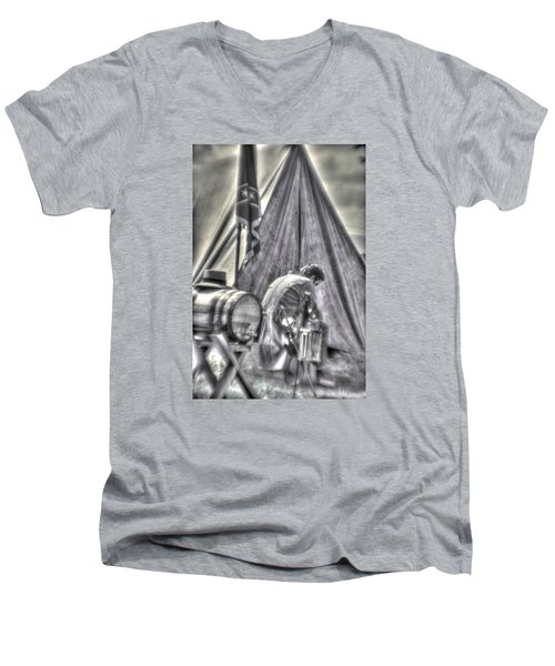 Men's V-Neck T-Shirt featuring the photograph Gettysburg In The Camp - Counting The Losses by Michael Mazaika