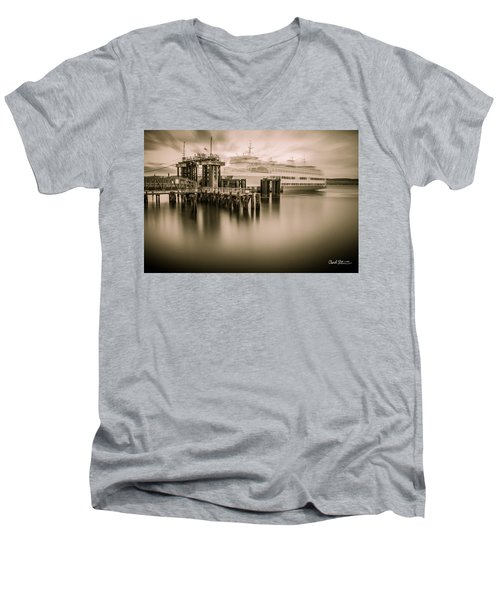 Ghost Ferry Men's V-Neck T-Shirt by Charlie Duncan