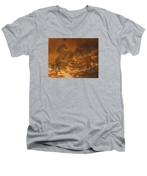 Ghost Horses At Sunset Men's V-Neck T-Shirt by Donald and Judi Hall