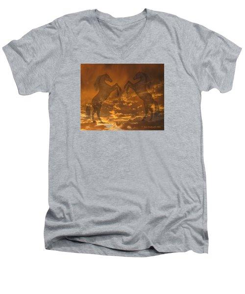 Ghost Horses At Sunset Men's V-Neck T-Shirt