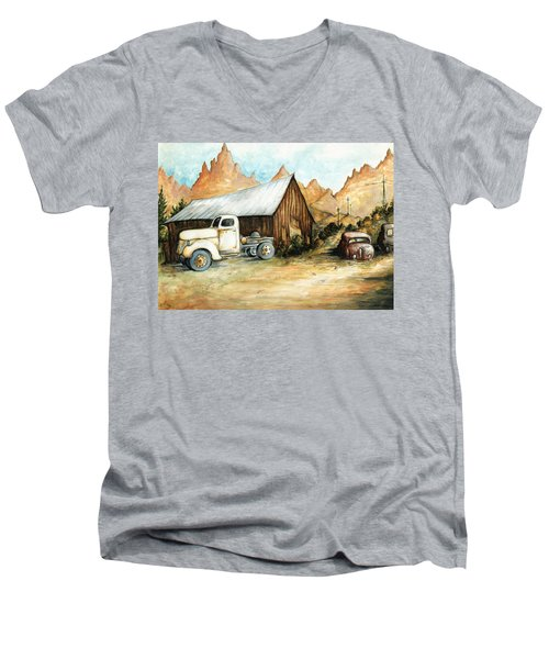 Ghost Town Nevada - Western Art Painting Men's V-Neck T-Shirt