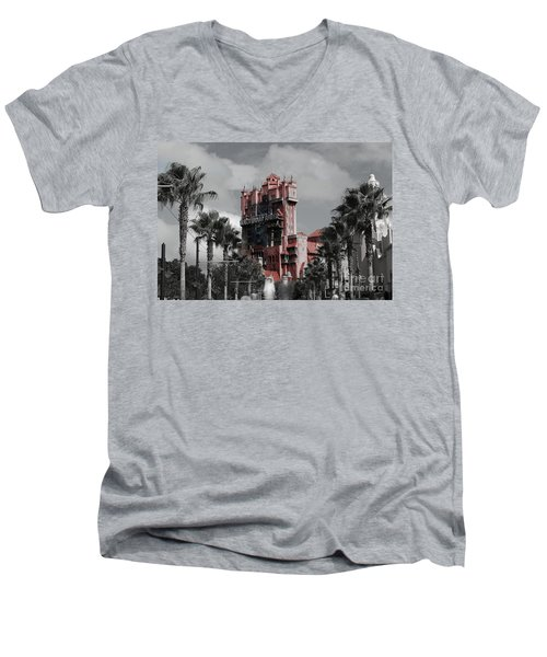 Ghostly At The Tower Men's V-Neck T-Shirt
