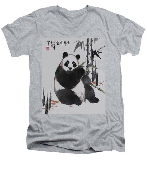 Men's V-Neck T-Shirt featuring the photograph Giant Panda by Yufeng Wang