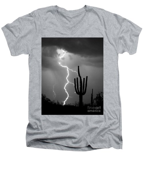 Giant Saguaro Cactus Lightning Strike Bw Men's V-Neck T-Shirt