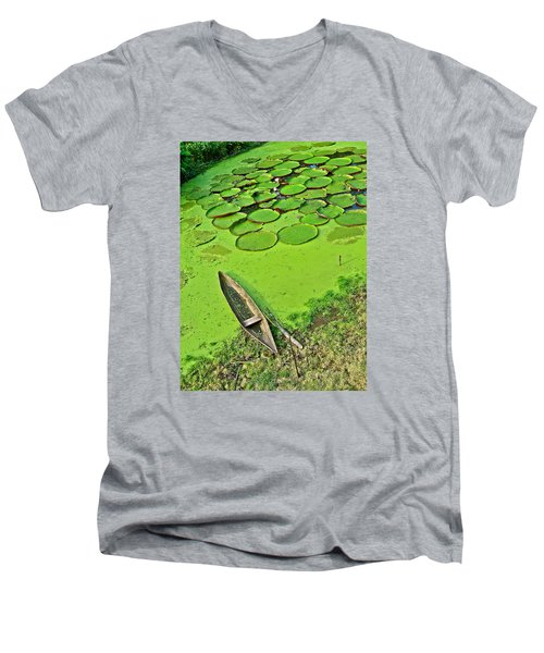 Giant Water Lilies And A Dugout Canoe In Amazon Jungle-peru Men's V-Neck T-Shirt by Ruth Hager