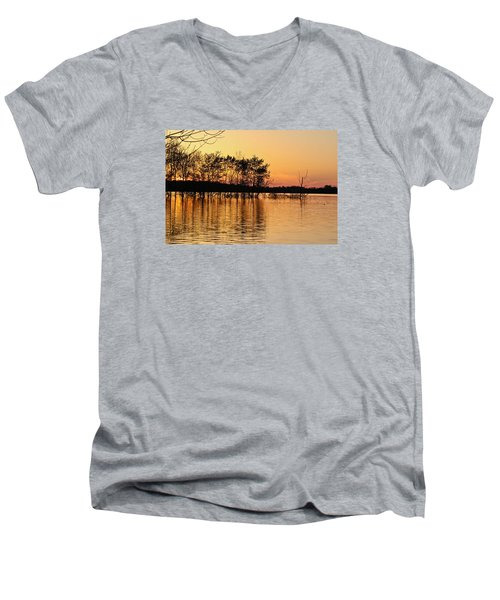 Men's V-Neck T-Shirt featuring the photograph Gilded Sunset by Julie Andel