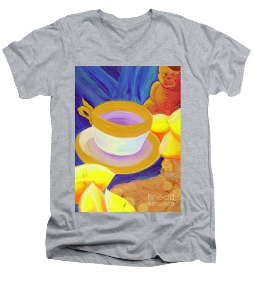 Ginger Lemon Tea By Jrr Men's V-Neck T-Shirt