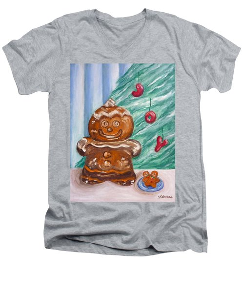 Gingerbread Cookies Men's V-Neck T-Shirt by Victoria Lakes