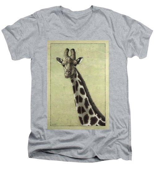 Giraffe Men's V-Neck T-Shirt by James W Johnson