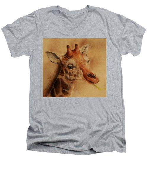 Giraffe Men's V-Neck T-Shirt by Jean Cormier