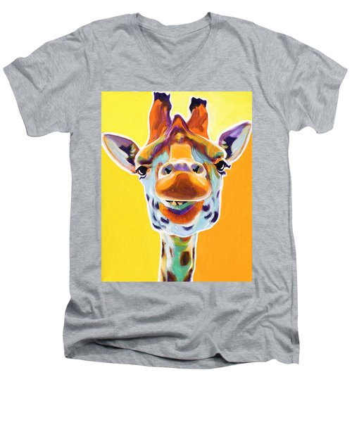 Giraffe - Sunflower Men's V-Neck T-Shirt