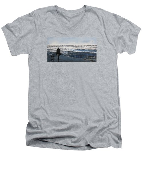 Girl And Dog Walking On The Beach Men's V-Neck T-Shirt by Ian Donley