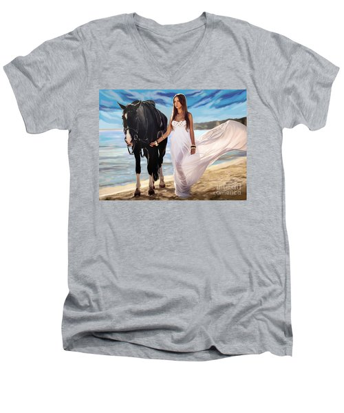 Men's V-Neck T-Shirt featuring the painting Girl And Horse On Beach by Tim Gilliland