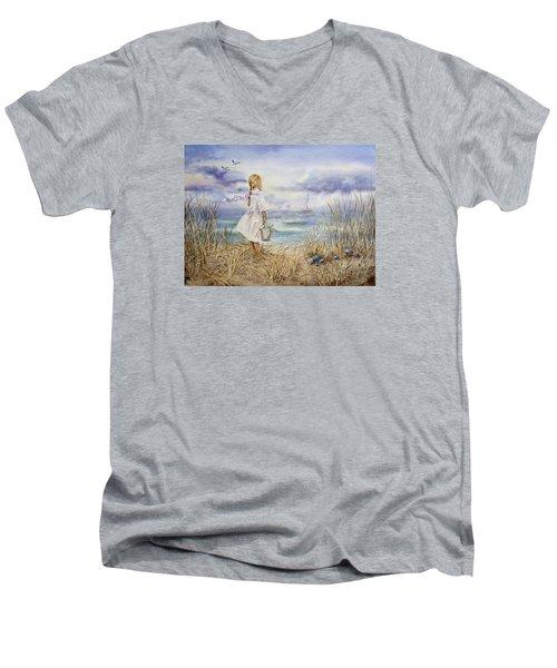 Girl At The Ocean Men's V-Neck T-Shirt