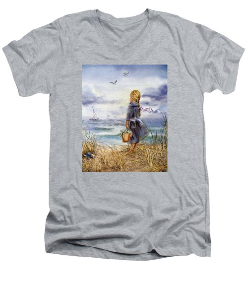 Girl And The Ocean Men's V-Neck T-Shirt