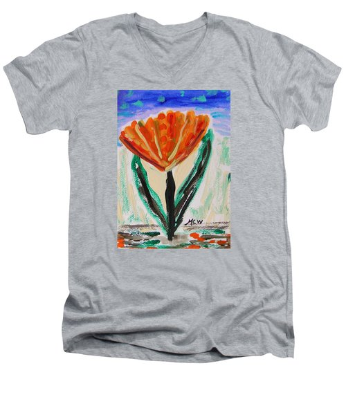Men's V-Neck T-Shirt featuring the painting Girl-flowers From The Flower Patch by Mary Carol Williams