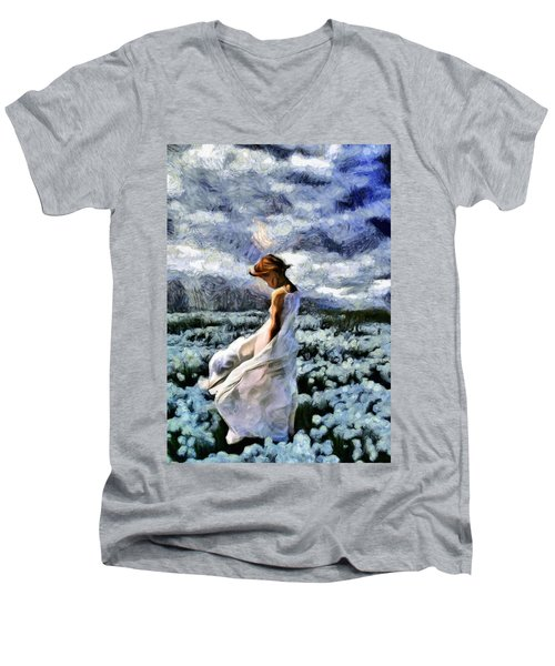 Girl In A Cotton Field Men's V-Neck T-Shirt