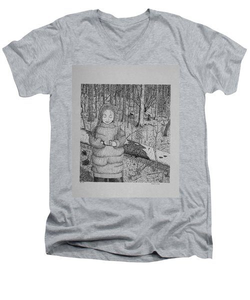 Girl In The Forest Men's V-Neck T-Shirt