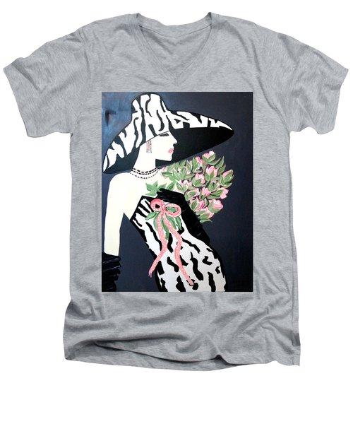 Girl That Loves Pink  Art Deco Men's V-Neck T-Shirt