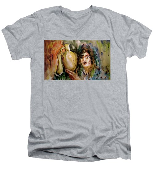 Girl With A Jug. Men's V-Neck T-Shirt