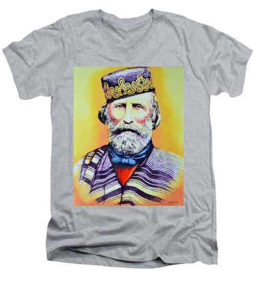 Giuseppe Garibaldi Men's V-Neck T-Shirt by Victor Minca
