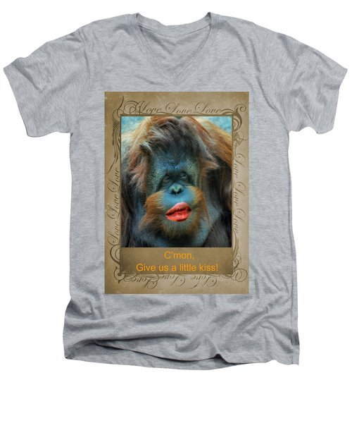 Men's V-Neck T-Shirt featuring the photograph Give Us A Little Kiss by Paula Ayers
