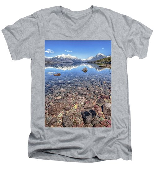 Glacial Lake Mcdonald Men's V-Neck T-Shirt by Aaron Aldrich