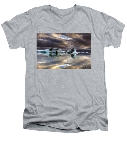 Men's V-Neck T-Shirt featuring the photograph Glacier In Water by Gunnar Orn Arnason