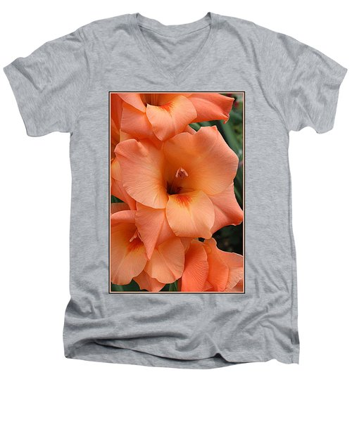 Gladiola In Peach Men's V-Neck T-Shirt by Dora Sofia Caputo Photographic Art and Design
